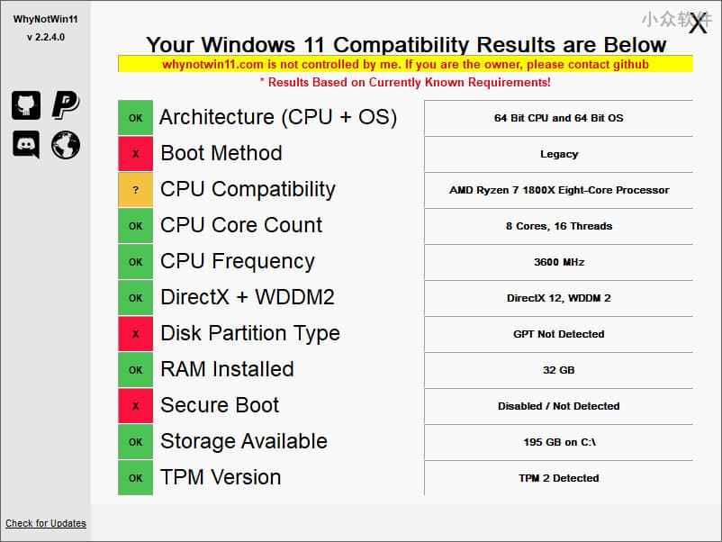 WhyNotWin11 - 到底为什么不能安装 Windows 11?第三方检测工具告诉你还缺什么