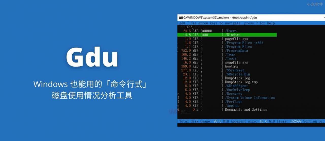 Gdu - Windows 也能用的「命令行式」磁盘使用情况分析工具